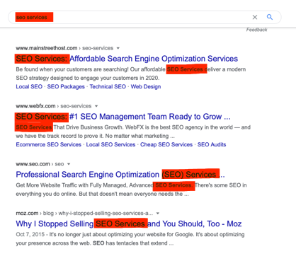 SERP results for SEO Services keyword showing the impact of on-page SEO